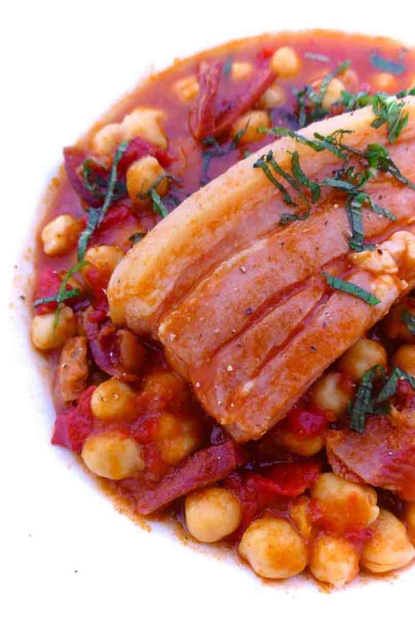 This smoky chickpea stew with pork belly ismy take on the traditional garbanzas canarias, also known as garbanzas compuestas