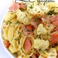 Easy Bacon & Cauliflower Spaghetti