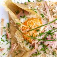 French Breton galette: hearty buckwheat pancakes stuffed with ham, fried eggs and cheese! This is a classic French recipe!
