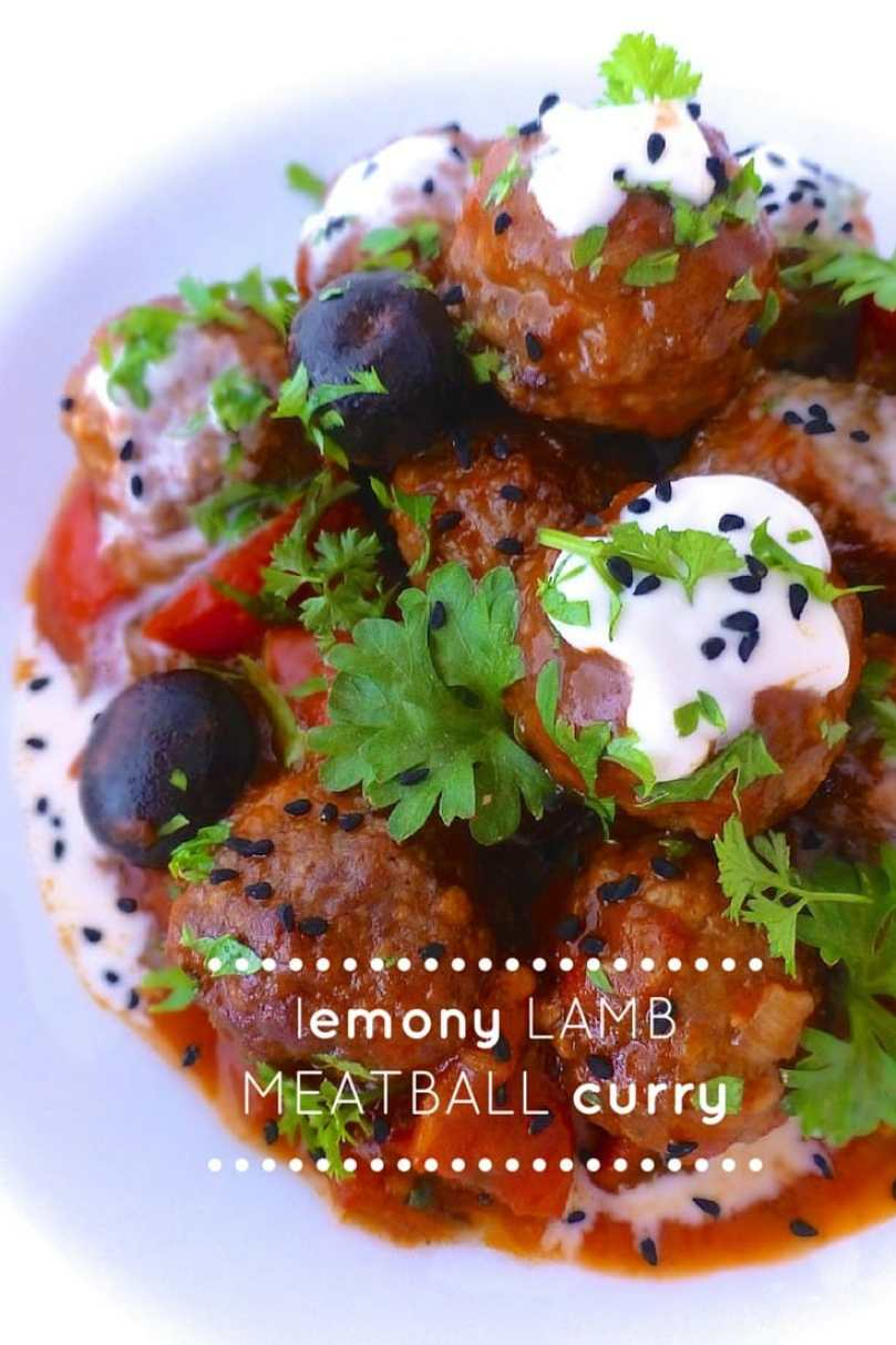 My spiced garam masala meatballs in a tangy tomato and lemon sauce drizzled with yogurt, the perfect lamb meatball curry...