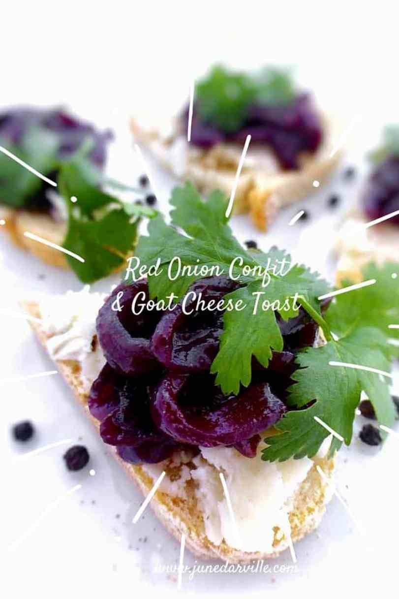 This sweet red onion confit with red wine tastes great with goat cheese and in combination with foie gras or smoked duck!