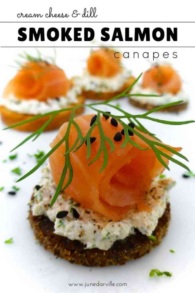 A slice of pumpernickel bread, some cream cheese, smoked salmon and dill on top... how about some smoked salmon canapes then?!