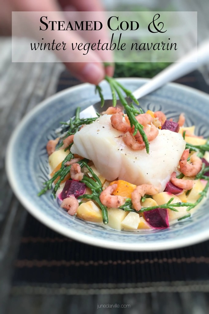 """Steamed cod in a creamy winter vegetable navarin """"de la mer"""", a lighter fish version of the classic French lamb navarin stew!"""