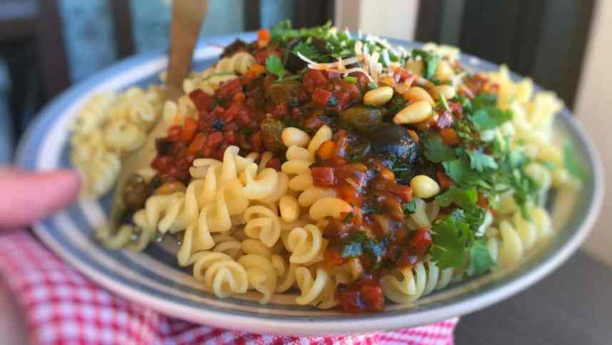 A bowlful of al dente cooked pasta topped with my chunky spicy chorizo ragu sauce, a savory spaghetti sauce with a smoky twist!