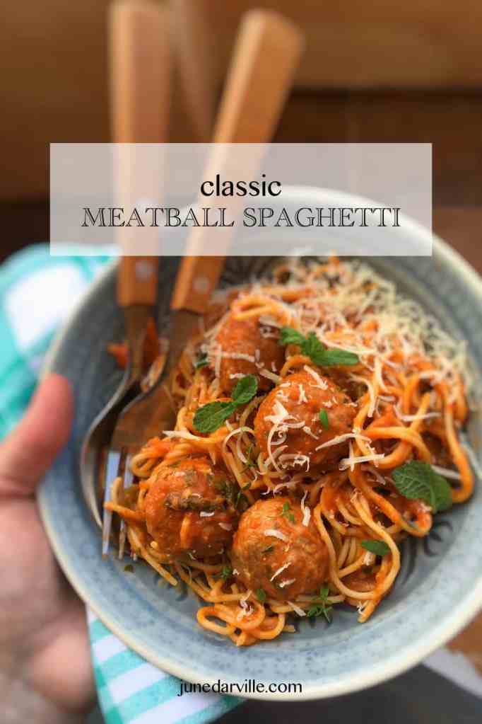 A classic among spaghetti classics I'm sure: spaghetti and meatballs! You can never go wrong with a pasta dinner like this one!