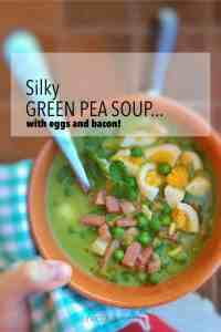 Silky green pea soup with boiled eggs and salty bacon bits... says more than enough I guess! Ever though of adding boiled eggs to a soup?