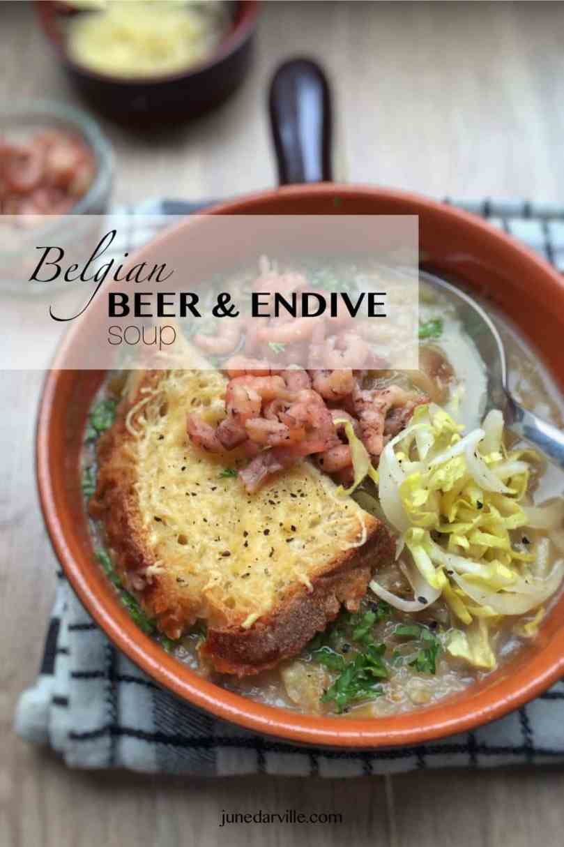Top notch Belgian products in this beer and endive soup! Fresh endives, grey North Sea shrimp, a local strong ale and grated Belgian trappist cheese!