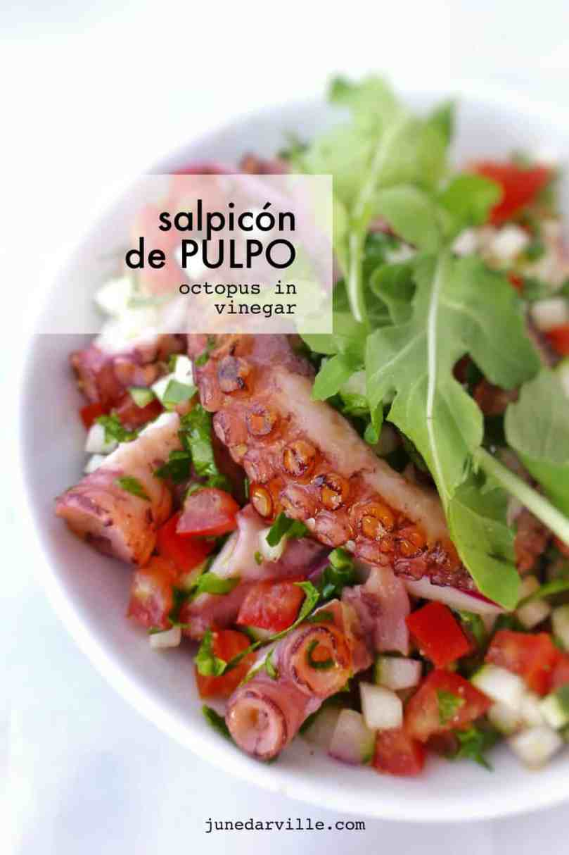 Salpicon de pulpo, a fresh Spanish salad with octopus, vegetables and red wine vinegar! Serve it as lunch, appetizer or a seafood salad!