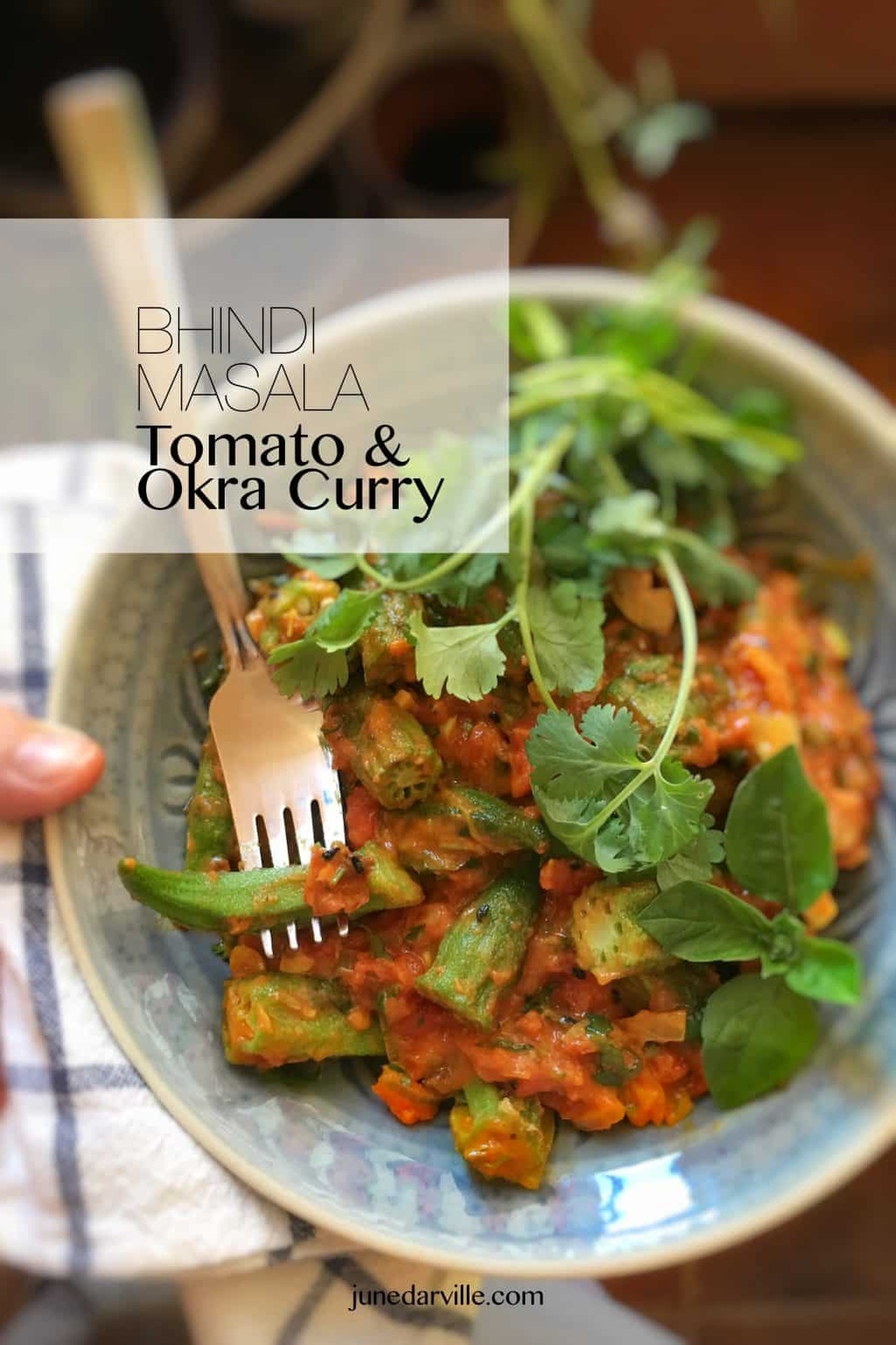 This classic okra curry contains ripe tomatoes, onion and loads of Indian spices! Serve it hot or cold, as a spicy side dish or a light lunch!