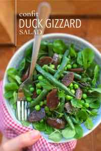 Three gizzard recipes for you: green bean salad with gizzards, homemade gizzard rillettes and a delicious gizzard and lentil soup!