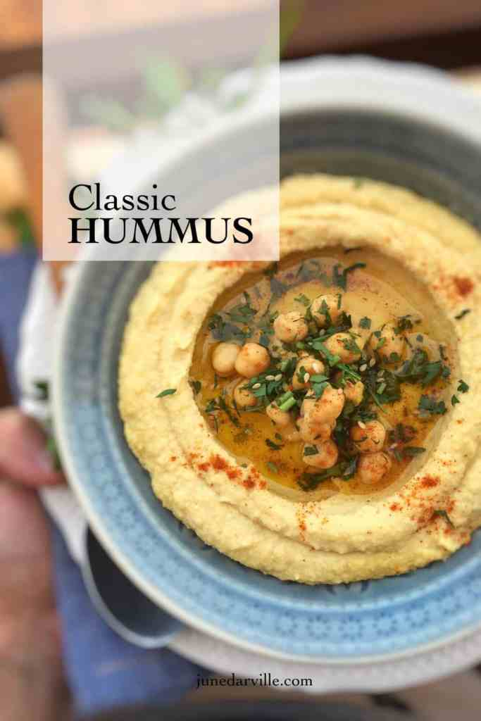 Here's my own recipe for hummus: this popular and tasty homemade chickpea puree is a great summer dipping sauce or lunch idea!