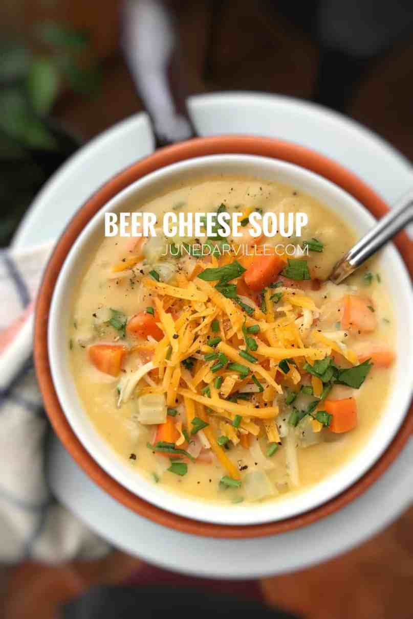Here's how to prepare a decadent beer cheese soup recipe with creamy cheddar cheese and mustard! Cheesy heaven in a bowl...