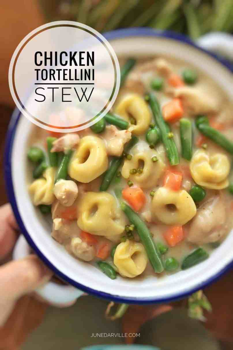 Creamy, gooey and delicious… this comfort chicken tortellini stew is so rich and flavorful! A homemade stew with chicken, pasta and vegetables...