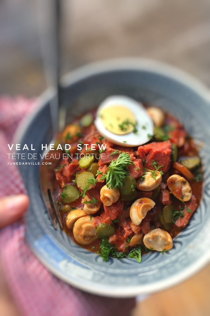 Main ingredients in this classic veal stew (veau en tortue in French): veal head, madeira wine, tomatoes, mushrooms and pickled gherkins.