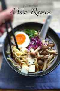 Noodles, miso broth, mushrooms, spring onion, tofu and a creamy soft-boiled egg. That's all you need here. You can make this simple Japanese miso ramen at home!