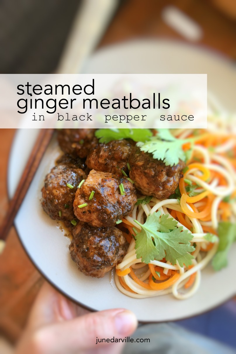 Watch my video of how I make these simple steamed ginger meatballs in hot black pepper sauce with my fabulous KitchenAid Stand Mixer Mini and my Cook Processor!