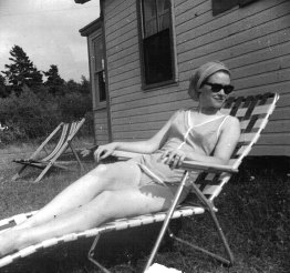 Sunbathing beauty. She wasn't a swimmer.