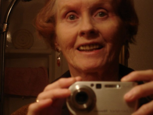 A selfie with her new digital camera