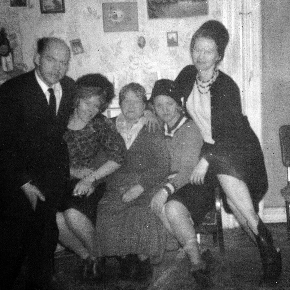 In 1963 when their father died, Cecil, Shirley, Helen Rose and June surrounding their mother.