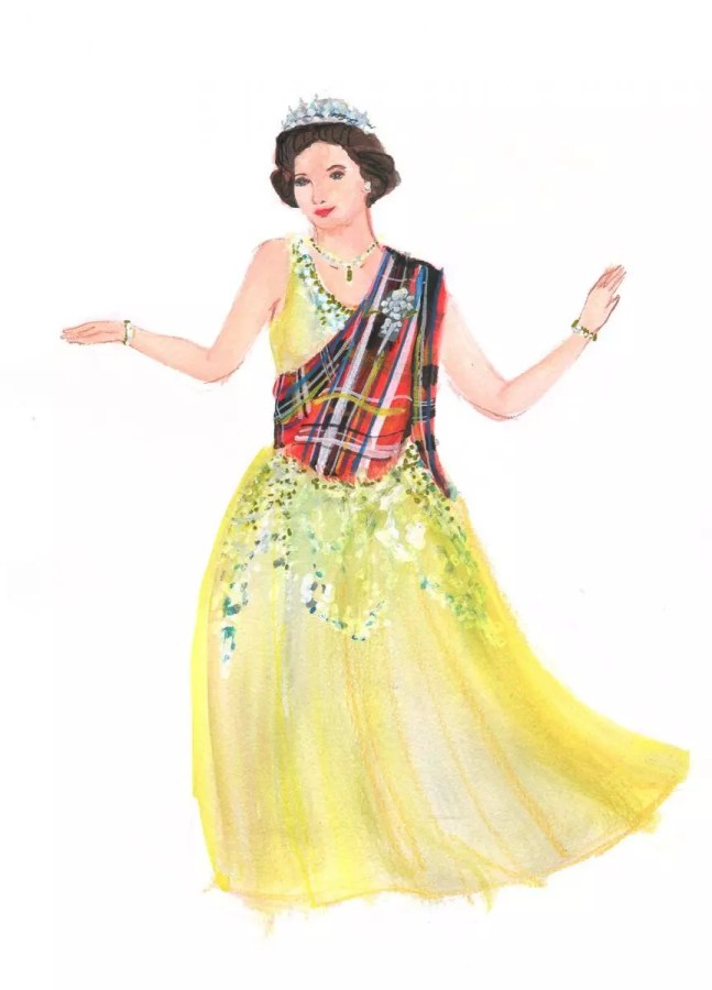 Painted Illustration of Queen Elizabeth II at the Annual ball at Balmoral. Scottish country dancing to be precise.