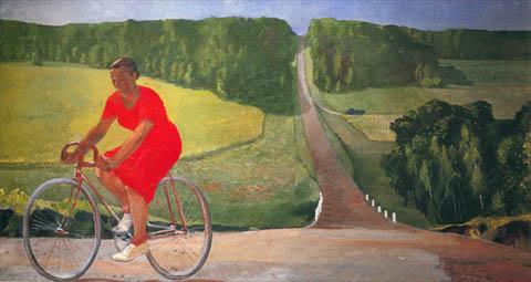 deineka-collectivefarmworkeronabicycle-1935