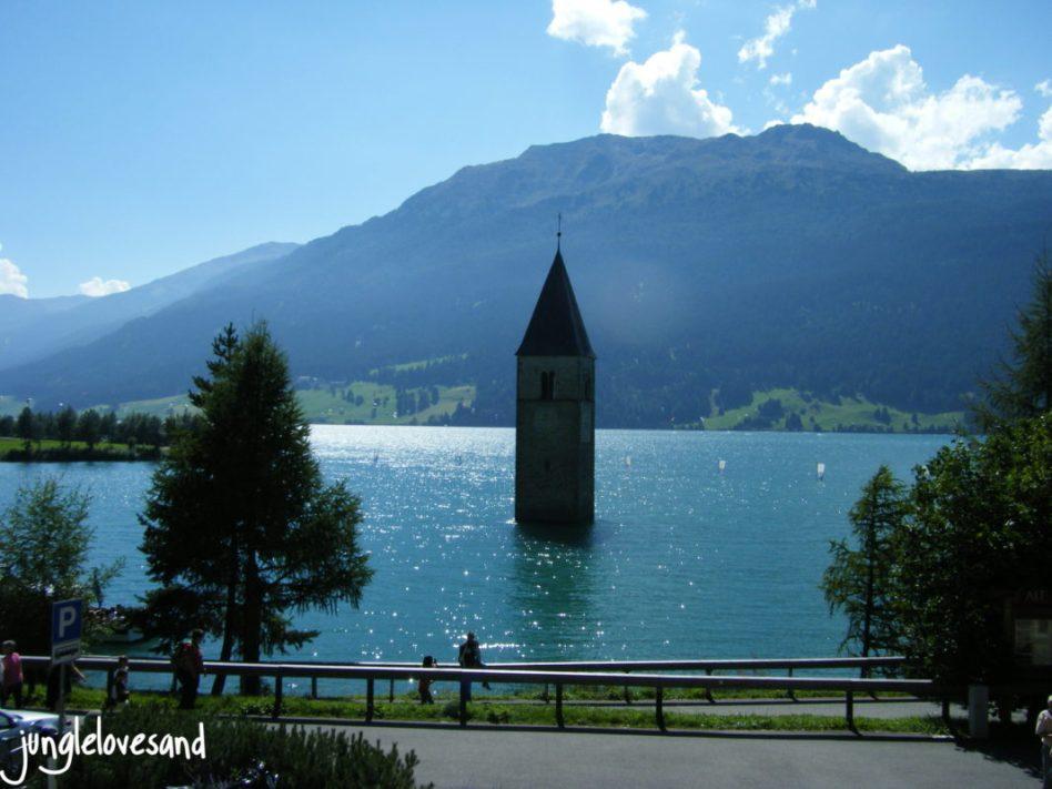 Alpen 1. Etappe 27.8. Italia Reschenpass mit Reschensee (1)