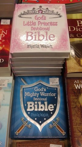 pink and blue bibles marketed for God's little princesses and mighty warriors