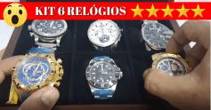 Veja o KIT de 6 Relógios Com Maleta de Madeira