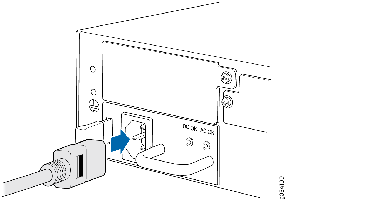 Connecting An Ac Power Cord To The Srx550 High Memory