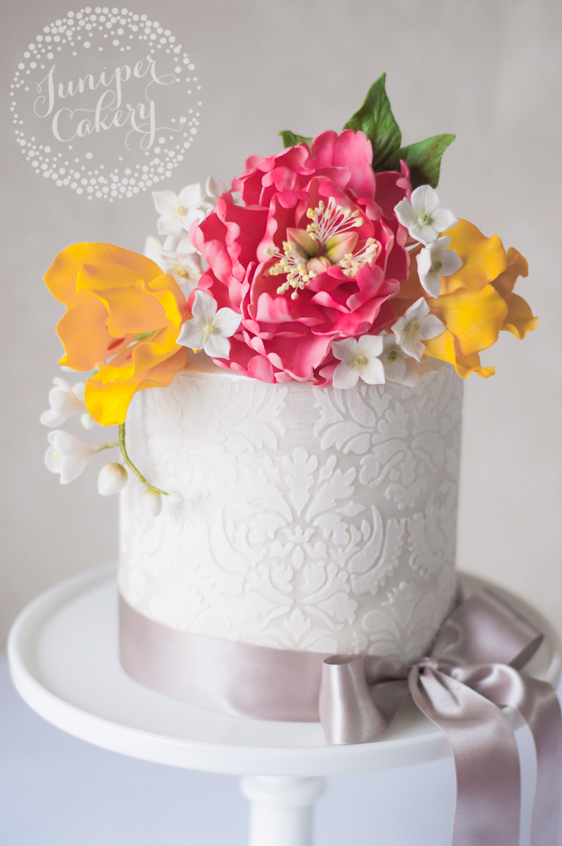 Damask stencil cake by Juniper Cakery