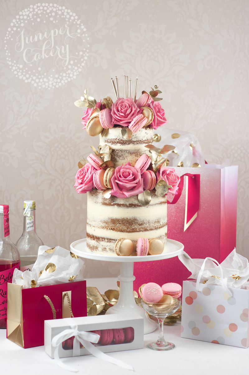 Pink and gold macaron naked cake by Juniper Cakery