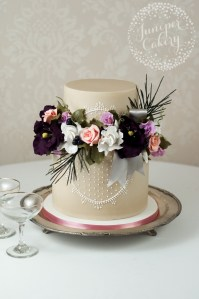 Vintage lace wedding cake by Juniper Cakery