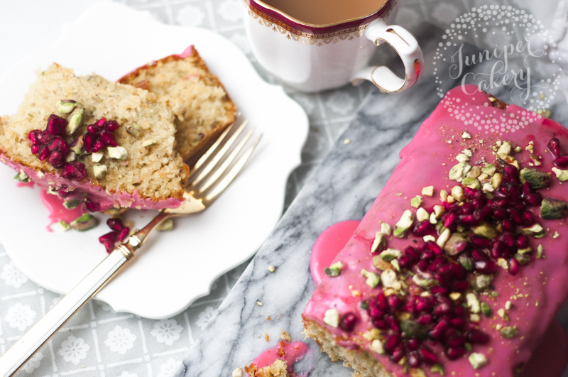 Amazing Carrot, pistachio and pomegranate loaf recipe by Juniper Cakery