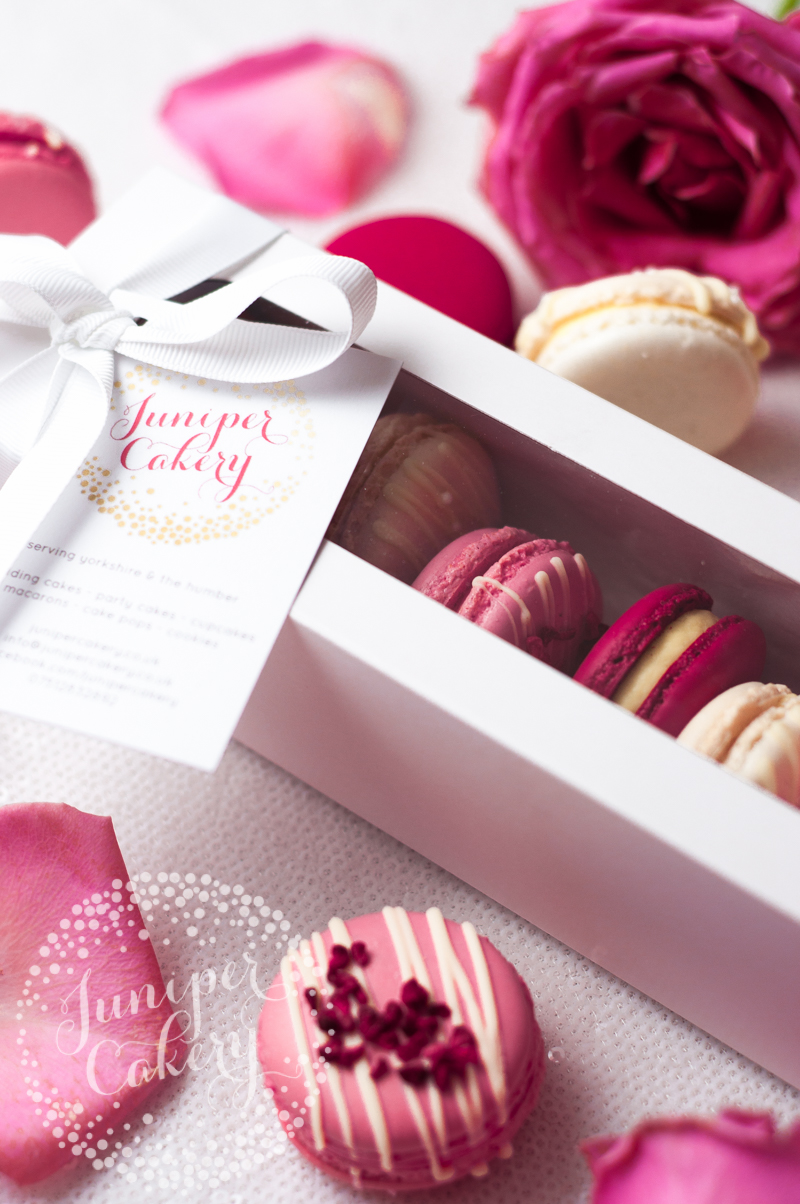 Pink, red and white Valentine's macarons by Juniper Cakery