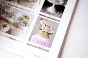 Peony ruffle and gold sequin wedding cake in Wedding Cakes magazine