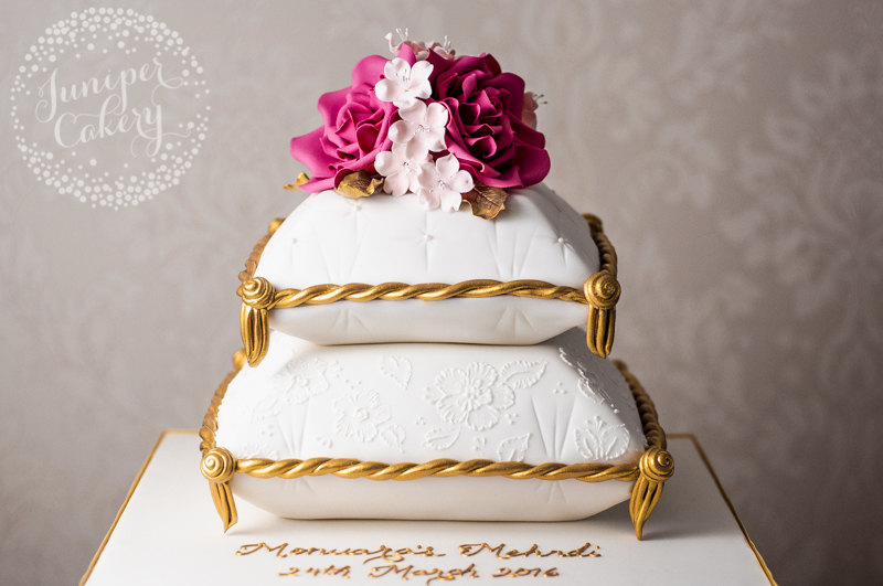 Pink, gold and white Mehndi cake by Juniper Cakery