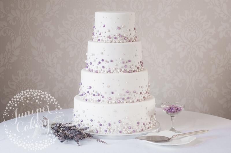 Modern pearl studded wedding cake by Juniper Cakery