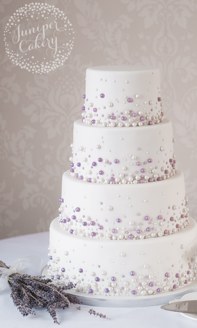 Modern Pearl Embellished Wedding Cake!