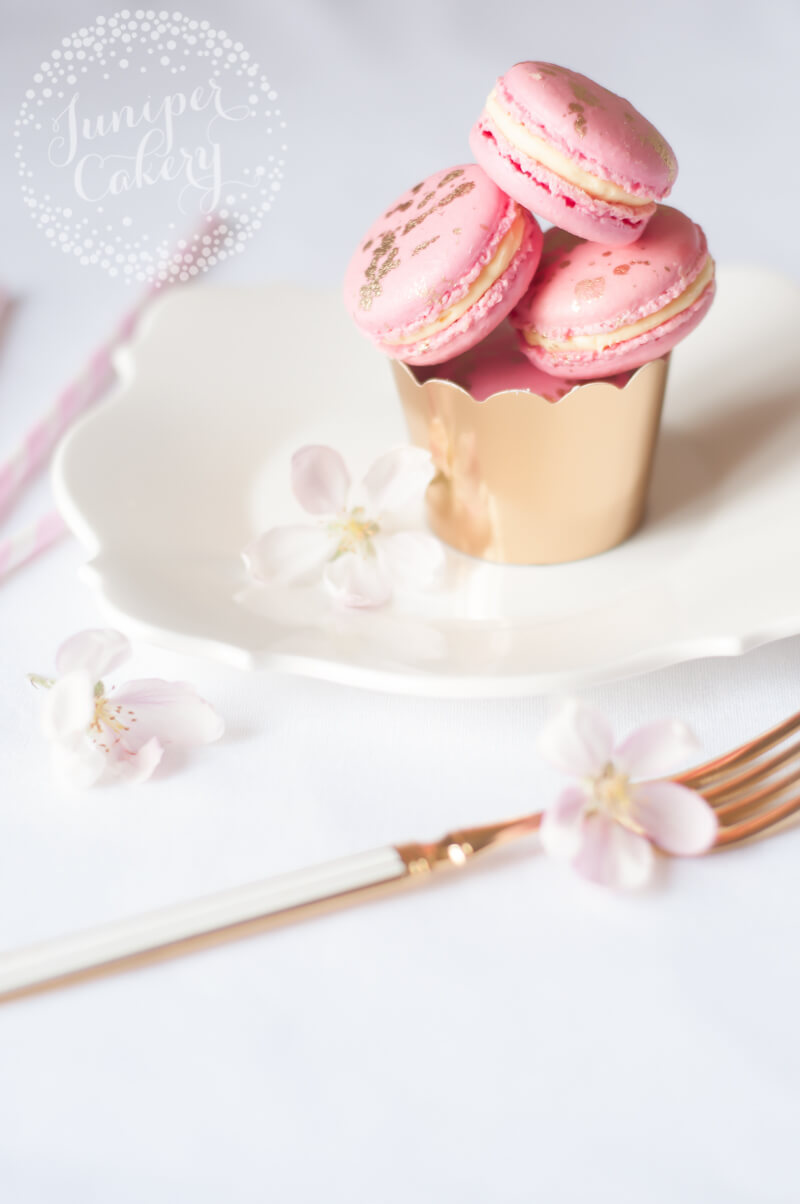 Luxurious pink champagne macarons by Juniper Cakery