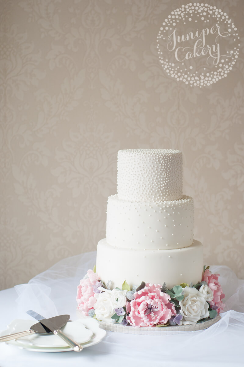 Peony and rose wedding cake with pearls by Juniper Cakery