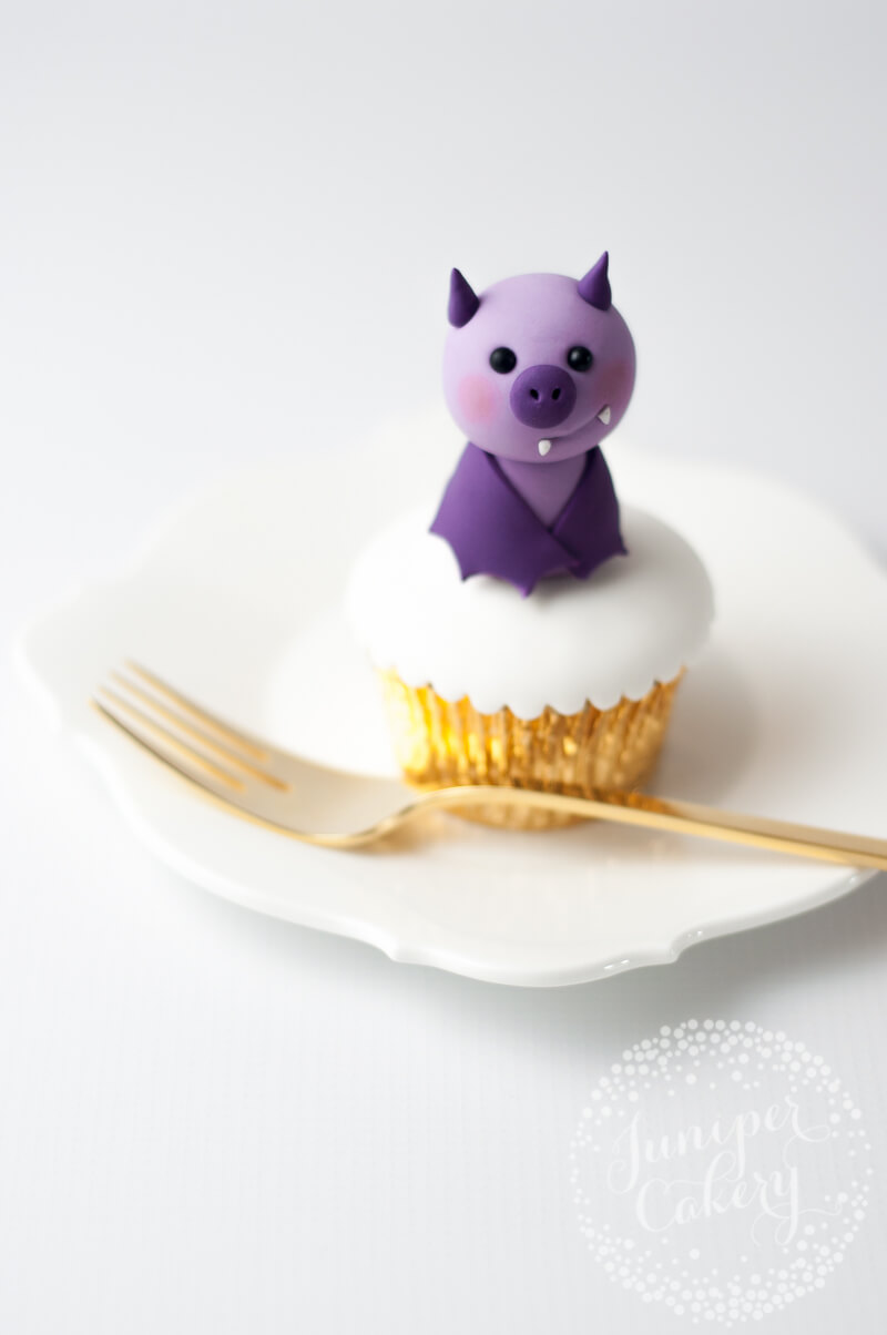Adorable fondant bat perfect for Halloween cakes and cupcakes