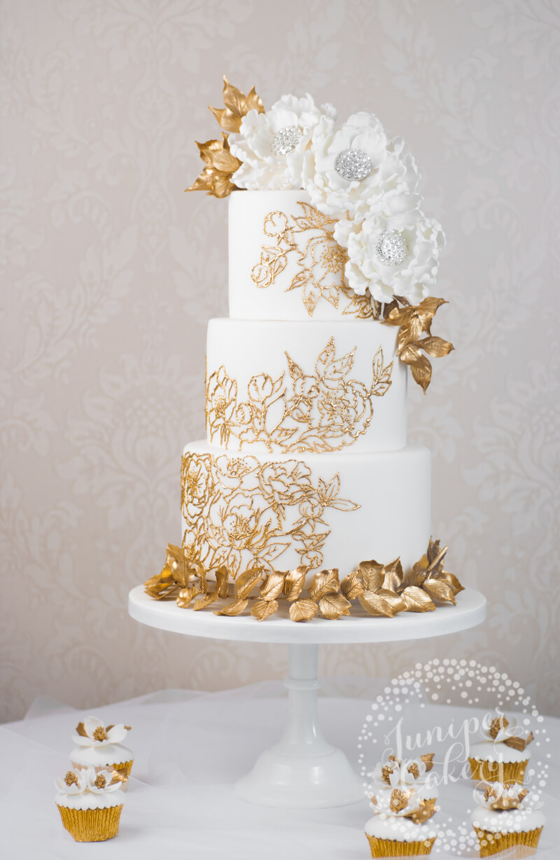 Gold lace wedding cake by Juniper Cakery