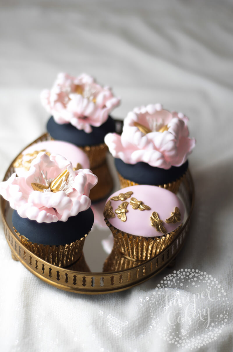 Navy and blush floral peony cake by Juniper Cakery