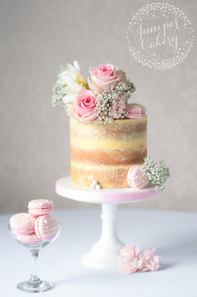 Pretty Strawberry Milkshake naked cake by Juniper Cakery