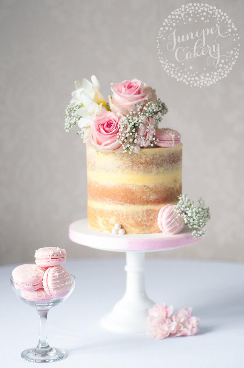 Pretty Strawberry Milkshake naked cake by Juniper Cakery
