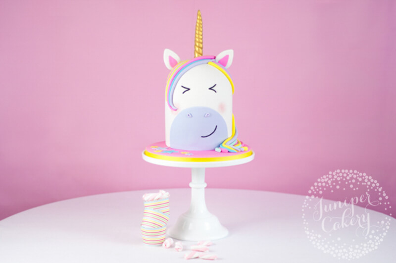 Rainbow unicorn cake tutorial by Juniper Cakery