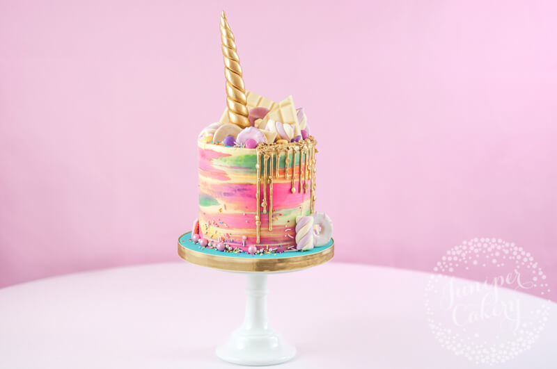 Rainbow unicorn drip cake by Juniper Cakery
