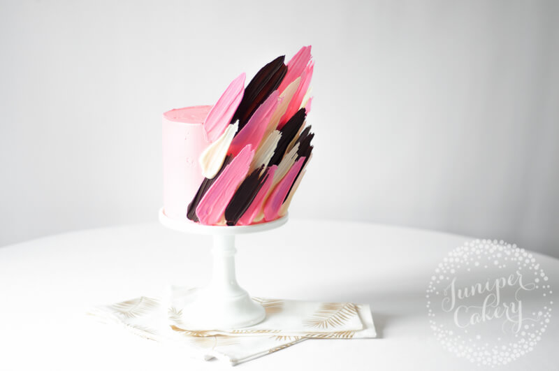 Pink brushstroke cake by Juniper Cakery