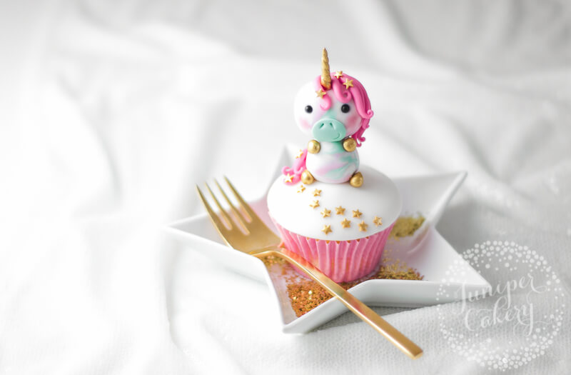 How to make a pretty pastel fondant unicorn cupcake topper by Juniper Cakery