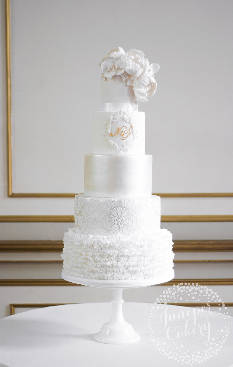 Grand White on White Wedding Cake at Rise Hall! - Juniper Cakery ...